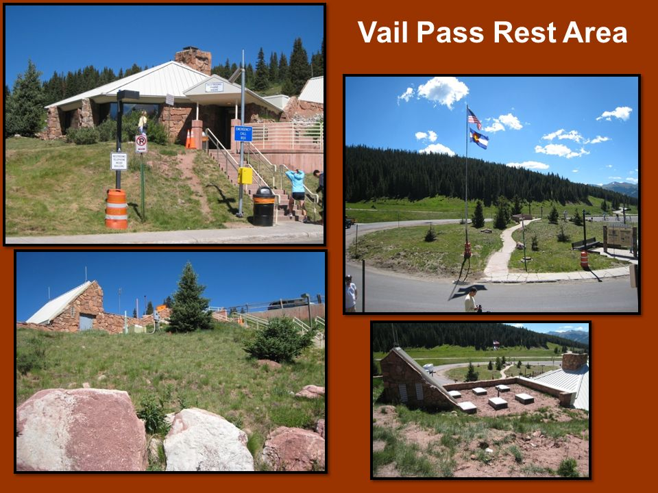 Vail Pass Rest Area The Vail Pass Rest Area is located on Interstate 70 at mile marker 190 on top of Vail Pass (elevation 10,666 feet).