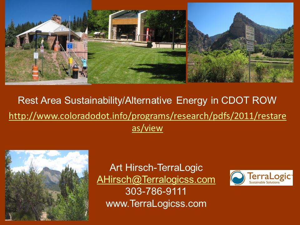 Rest Area Sustainability/Alternative Energy in CDOT ROW