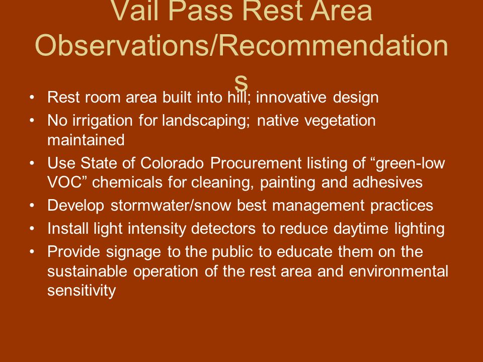 Vail Pass Rest Area Observations/Recommendations