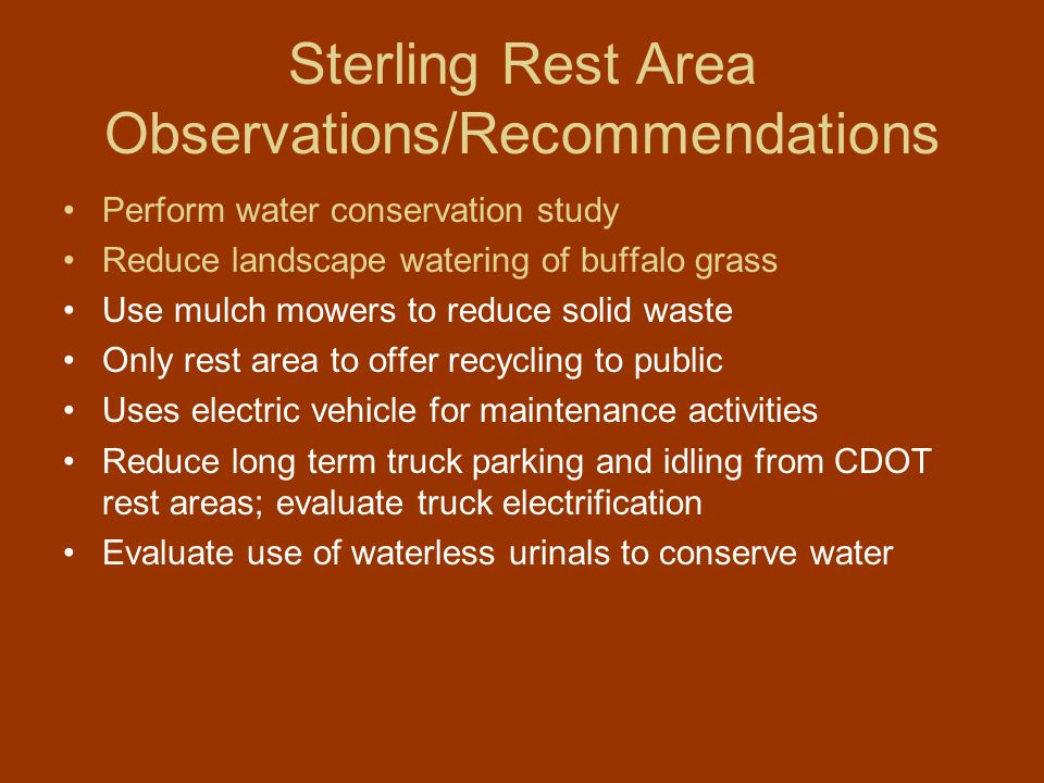 Sterling Rest Area Observations/Recommendations