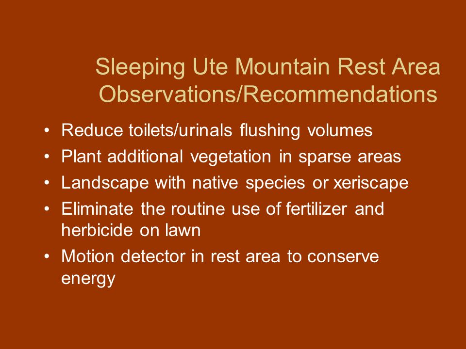 Sleeping Ute Mountain Rest Area Observations/Recommendations
