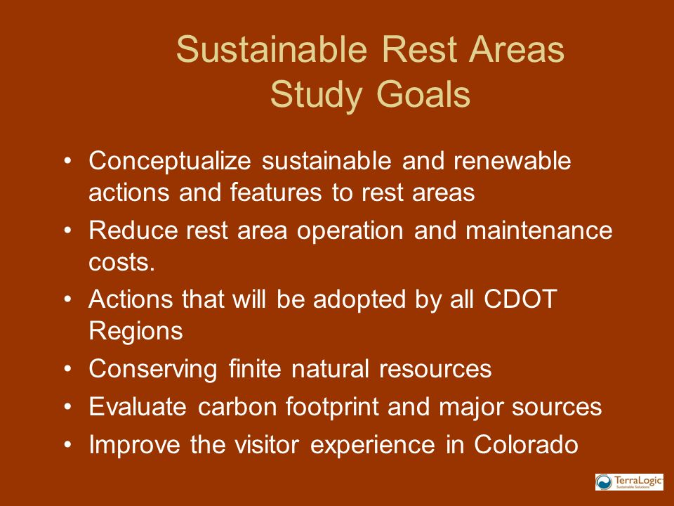 Sustainable Rest Areas Study Goals