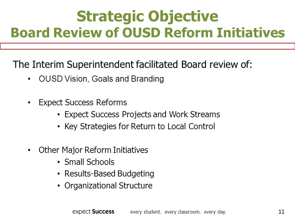 Strategic Objective Board Review of OUSD Reform Initiatives