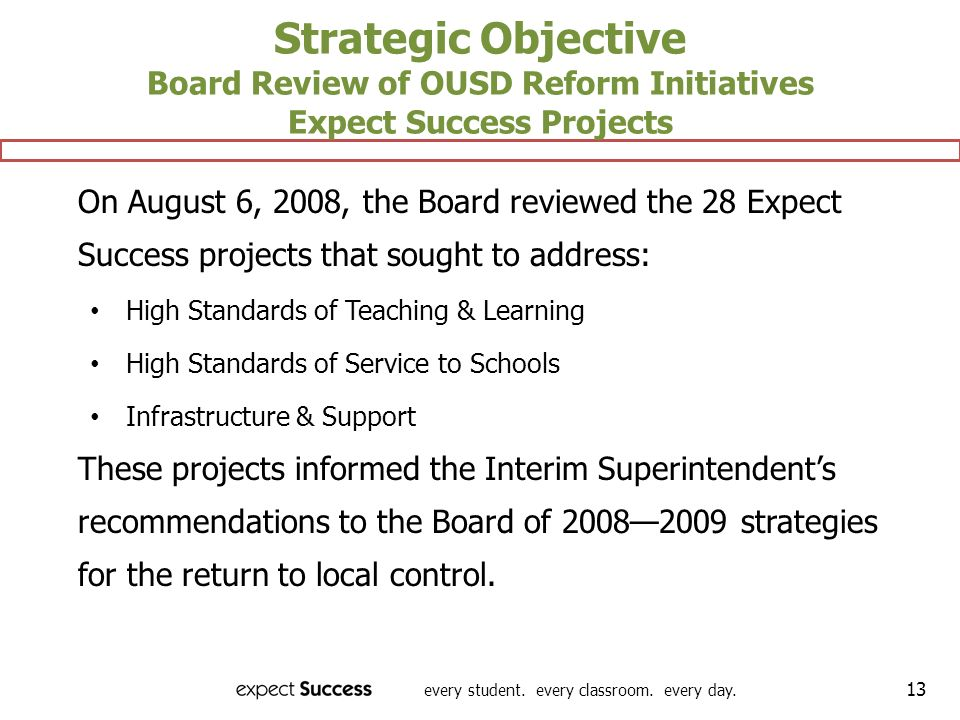 Strategic Objective Board Review of OUSD Reform Initiatives Expect Success Projects