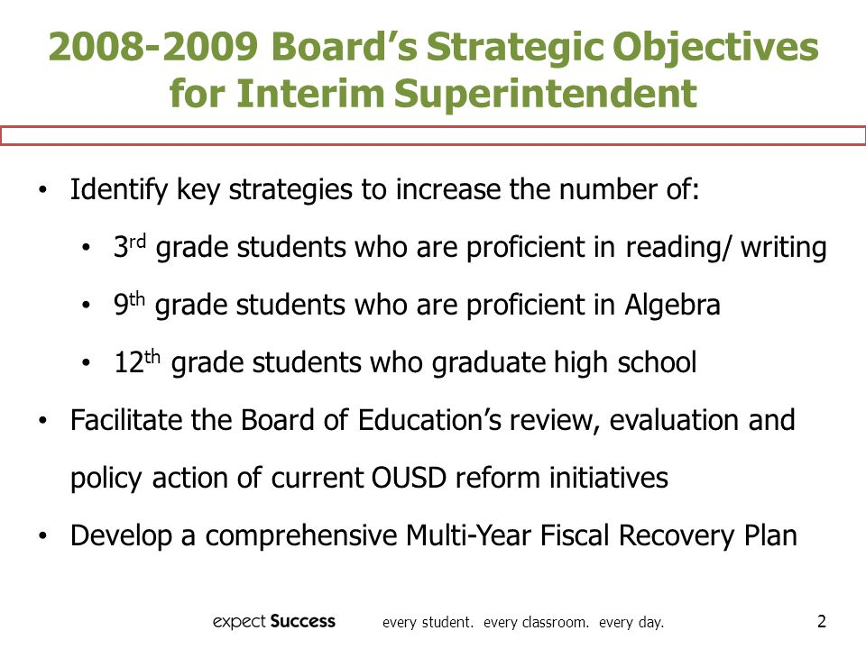 2008-2009 Board's Strategic Objectives for Interim Superintendent