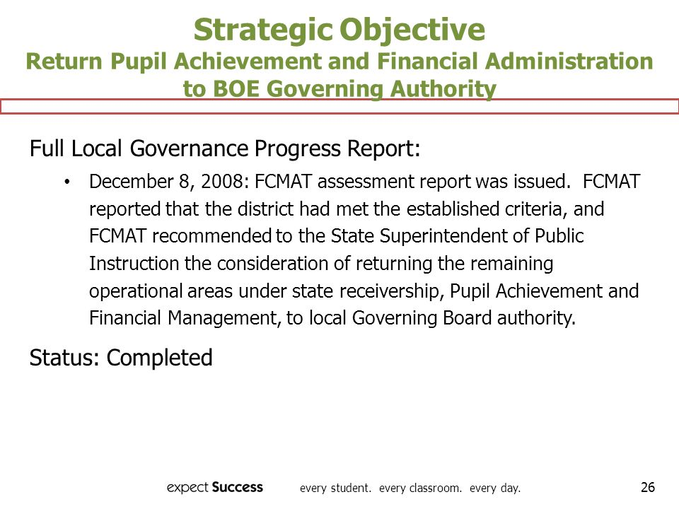 Strategic Objective Return Pupil Achievement and Financial Administration to BOE Governing Authority