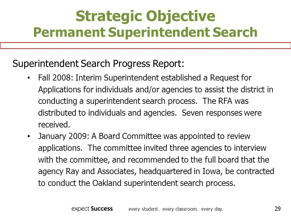 Strategic Objective Permanent Superintendent Search