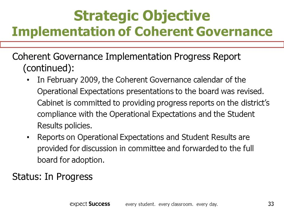 Strategic Objective Implementation of Coherent Governance