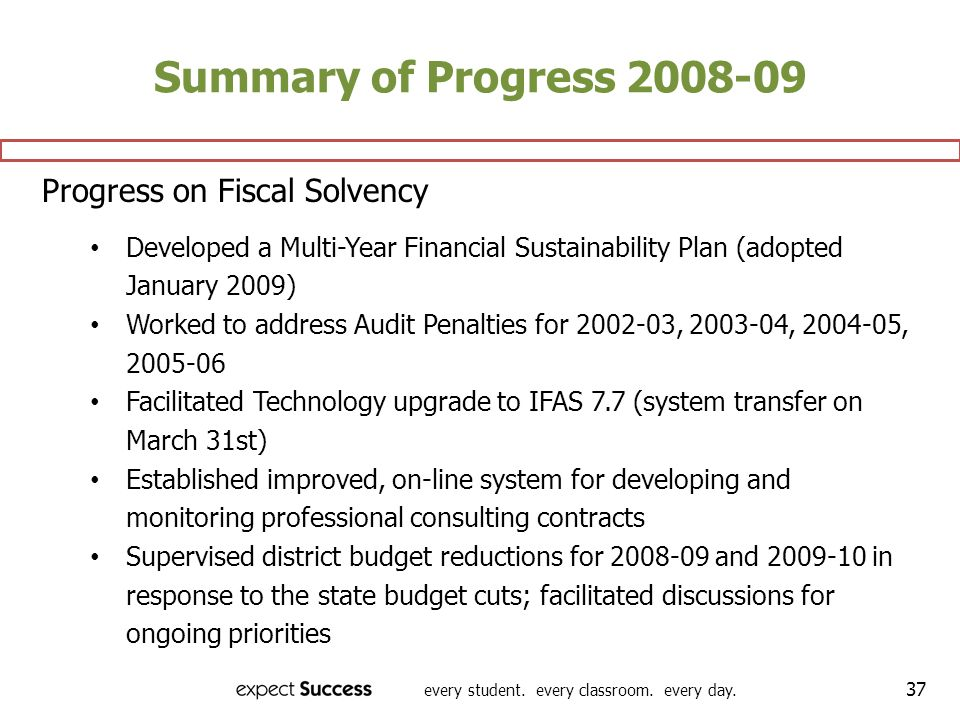 Summary of Progress 2008-09 Progress on Fiscal Solvency