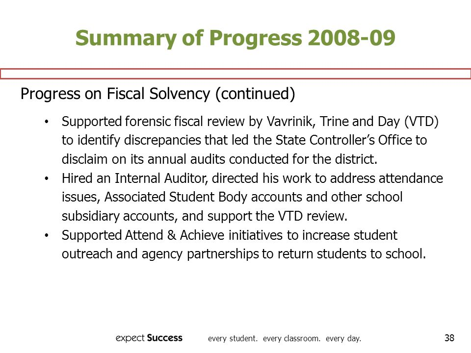 Summary of Progress 2008-09 Progress on Fiscal Solvency (continued)