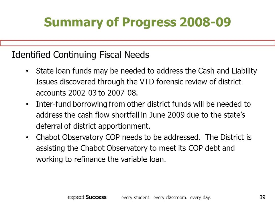 Summary of Progress 2008-09 Identified Continuing Fiscal Needs