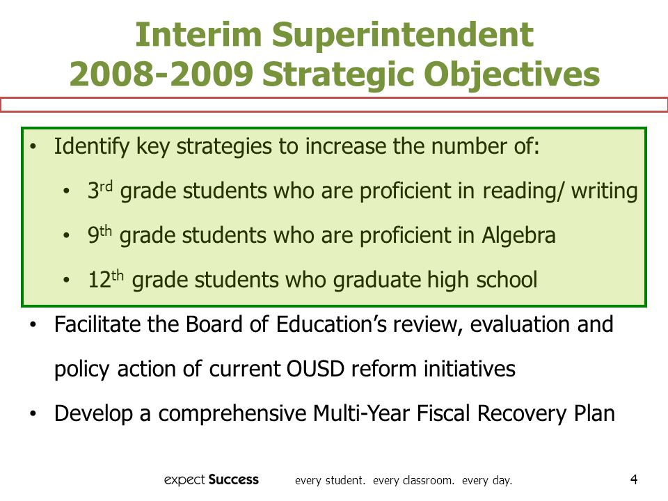 Interim Superintendent 2008-2009 Strategic Objectives