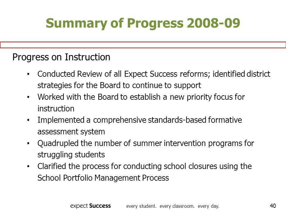 Summary of Progress 2008-09 Progress on Instruction