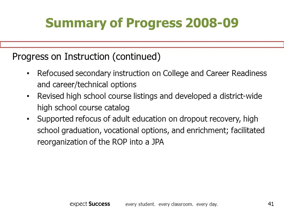 Summary of Progress 2008-09 Progress on Instruction (continued)