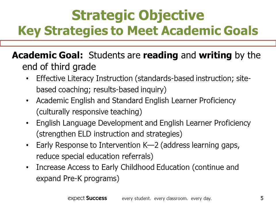 Strategic Objective Key Strategies to Meet Academic Goals