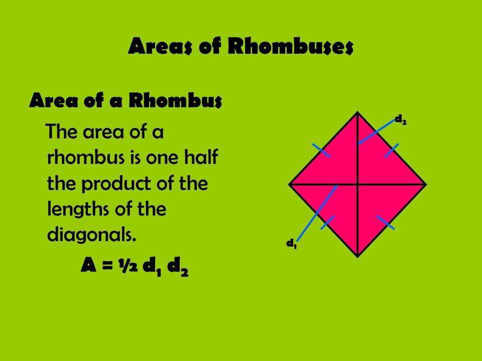 Areas of Rhombuses Area of a Rhombus