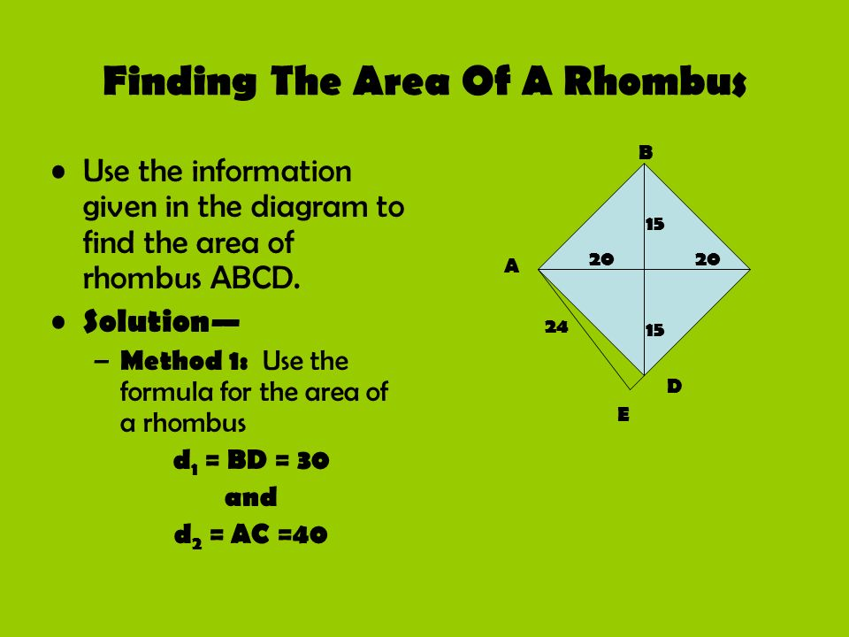 Finding The Area Of A Rhombus