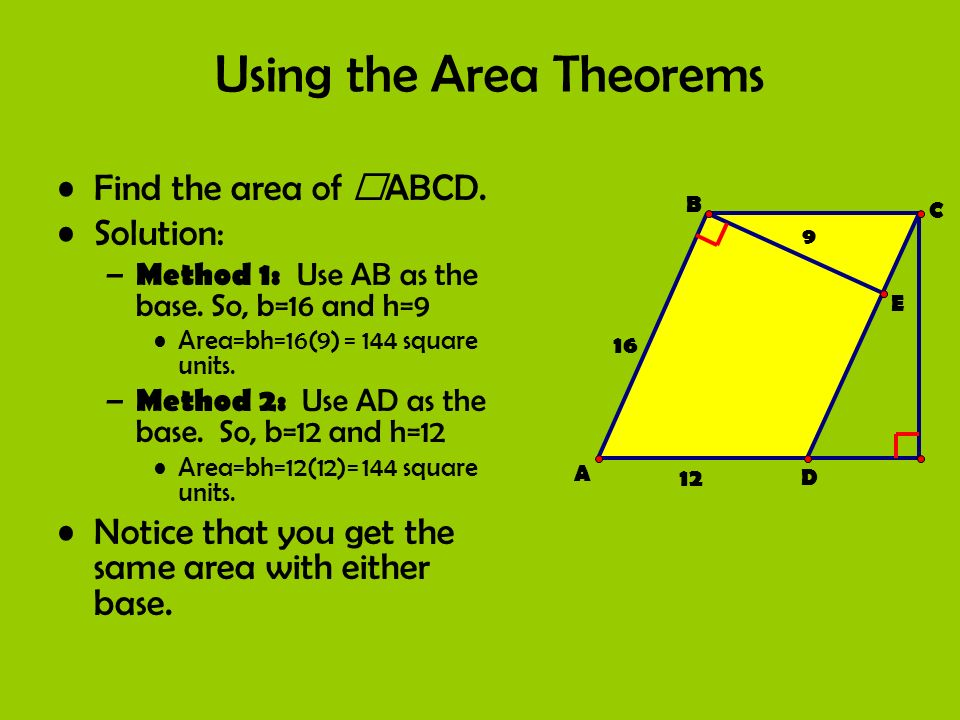 Using the Area Theorems