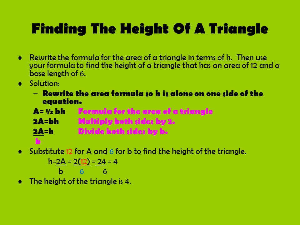 Finding The Height Of A Triangle