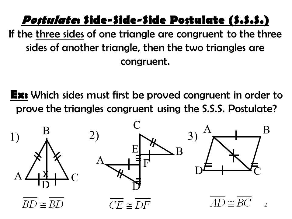 Postulate: Side-Side-Side Postulate (S.S.S.)