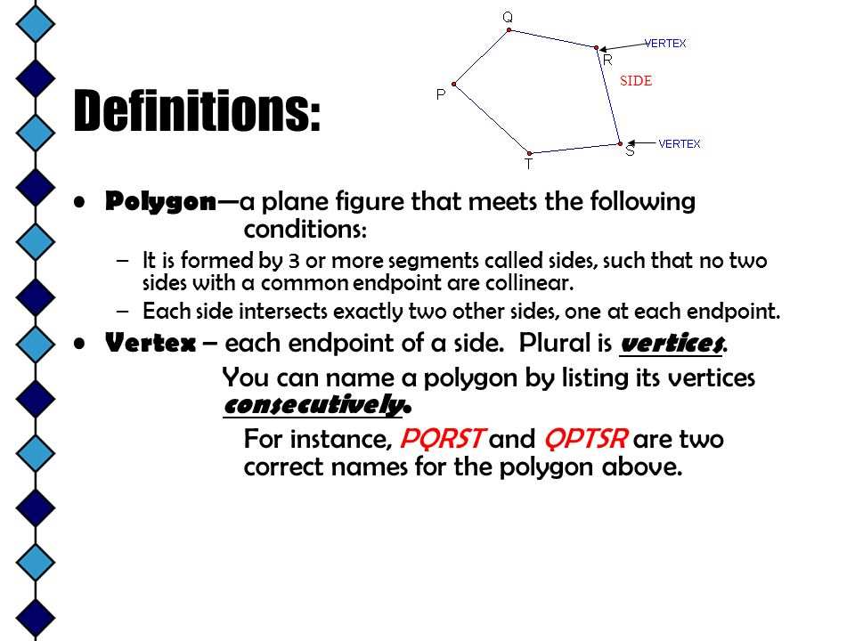 Definitions: SIDE. Polygon—a plane figure that meets the following conditions: