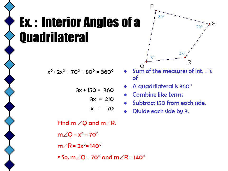 Ex. : Interior Angles of a Quadrilateral