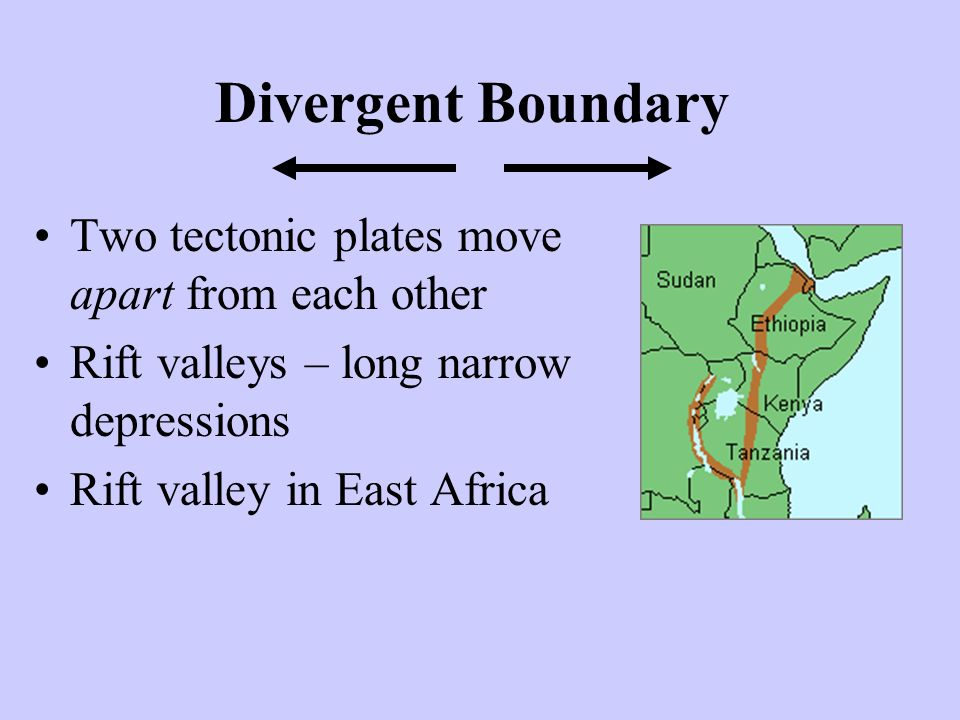 Divergent Boundary Two tectonic plates move apart from each other