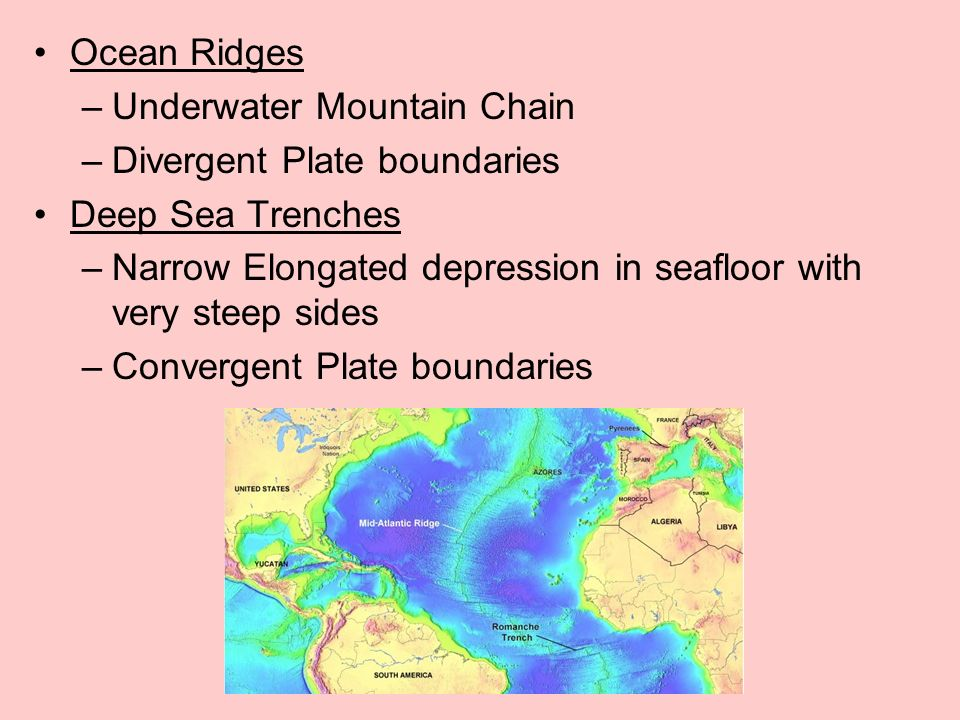 Ocean Ridges Underwater Mountain Chain. Divergent Plate boundaries. Deep Sea Trenches.