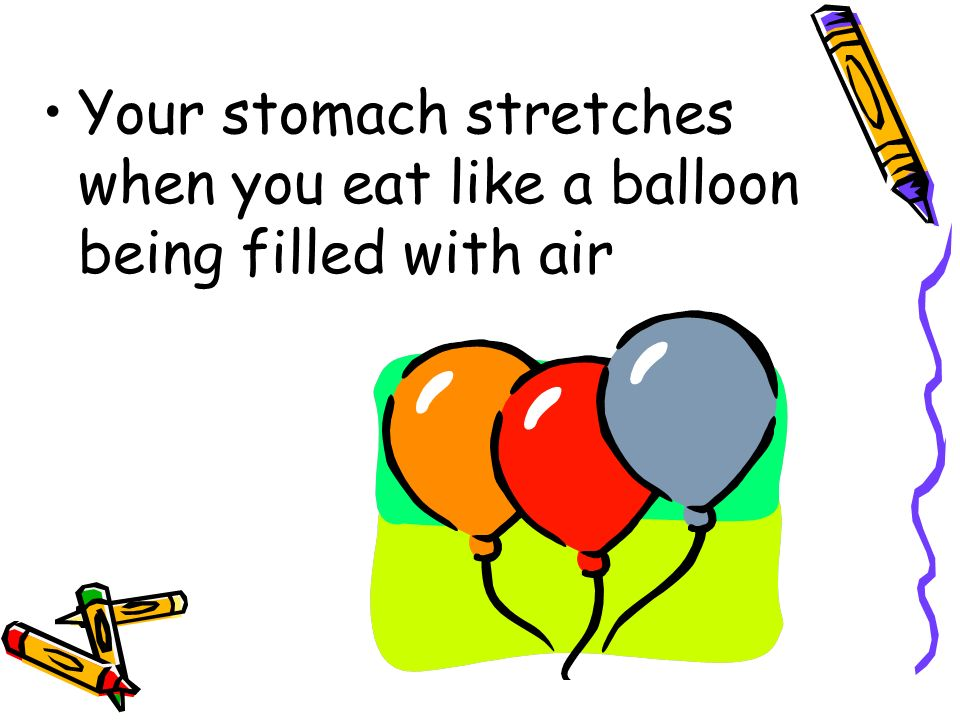 Your stomach stretches when you eat like a balloon being filled with air