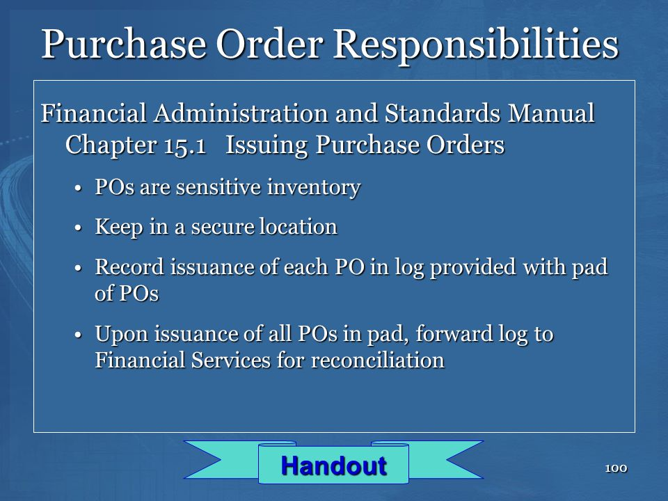 Purchase Order Responsibilities