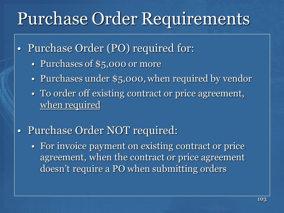 Purchase Order Requirements