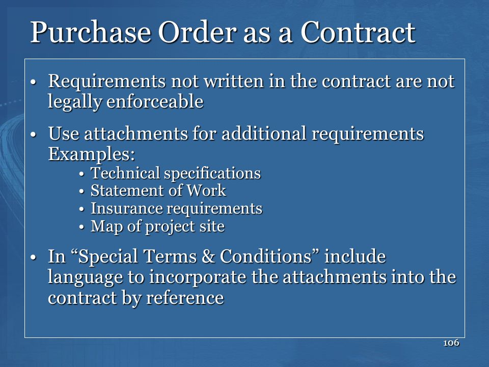Purchase Order as a Contract