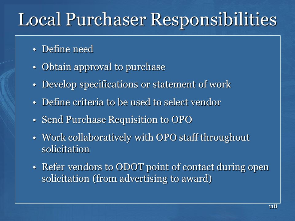 Local Purchaser Responsibilities