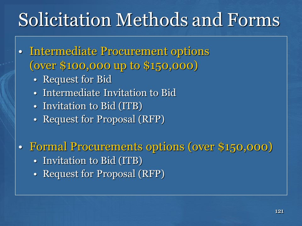Solicitation Methods and Forms