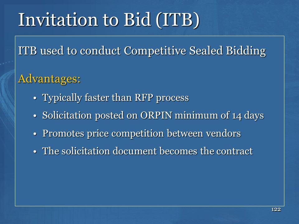 Invitation to Bid (ITB)