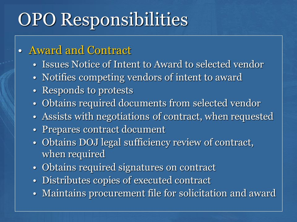 OPO Responsibilities Award and Contract
