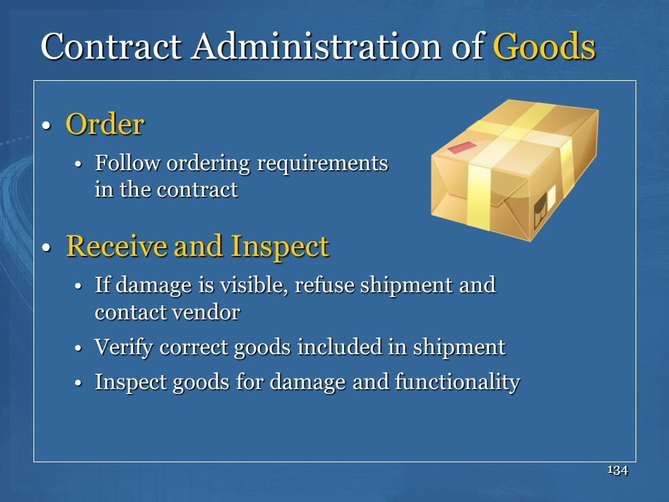 Contract Administration of Goods