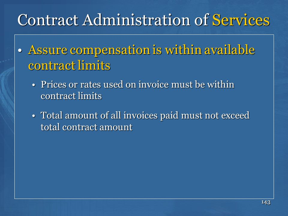 Contract Administration of Services