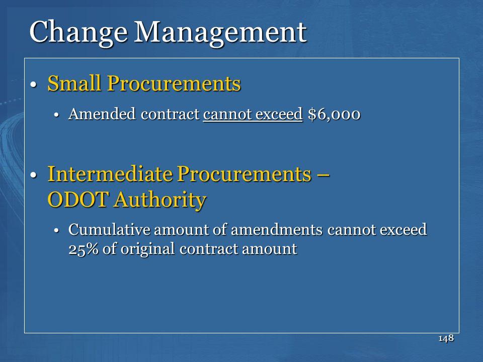 Change Management Small Procurements
