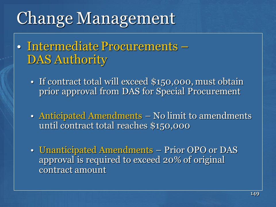 Change Management Intermediate Procurements – DAS Authority