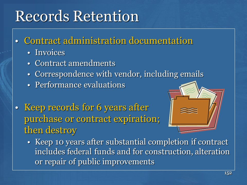 Records Retention Contract administration documentation