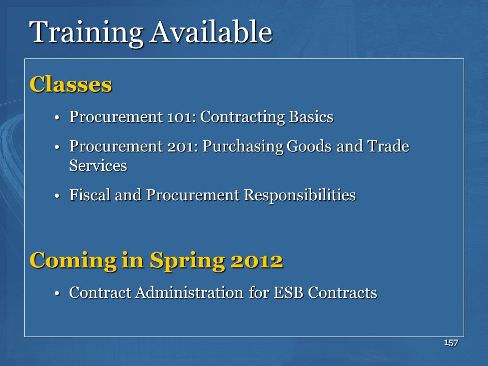 Training Available Classes Coming in Spring 2012