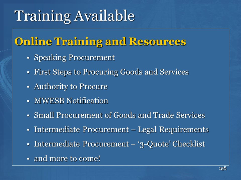 Training Available Online Training and Resources Speaking Procurement