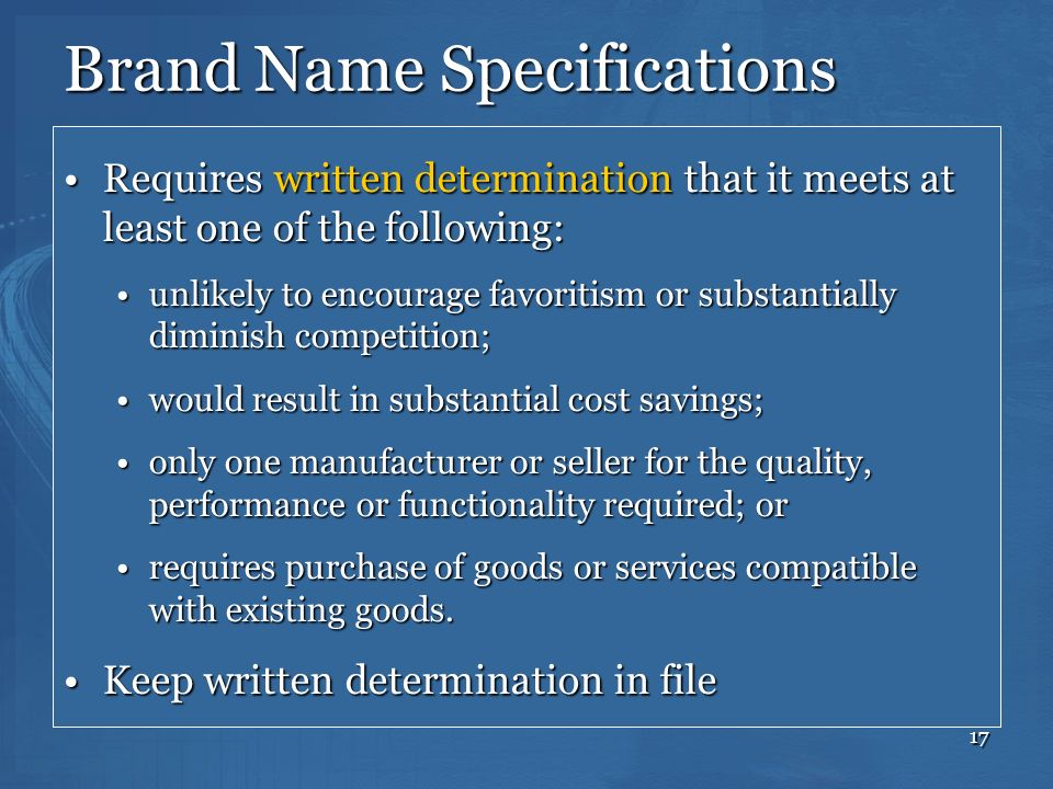 Brand Name Specifications