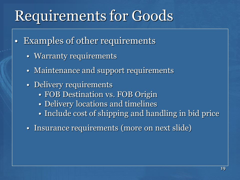 Requirements for Goods