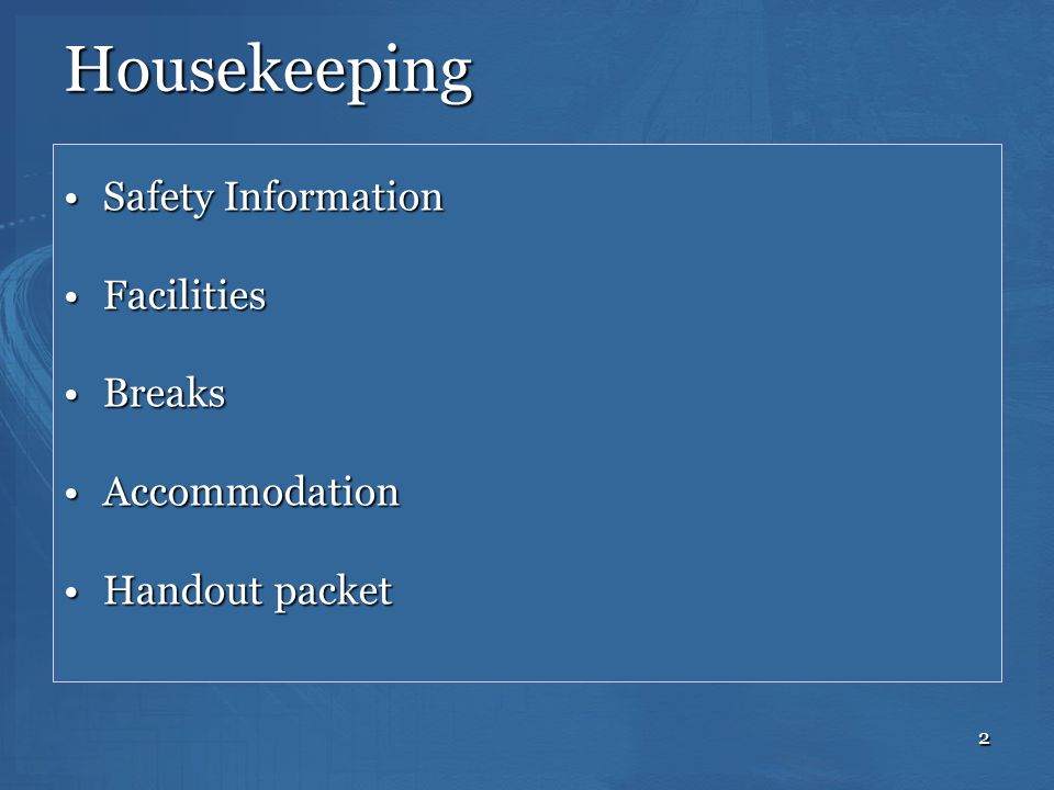 Housekeeping Safety Information Facilities Breaks Accommodation