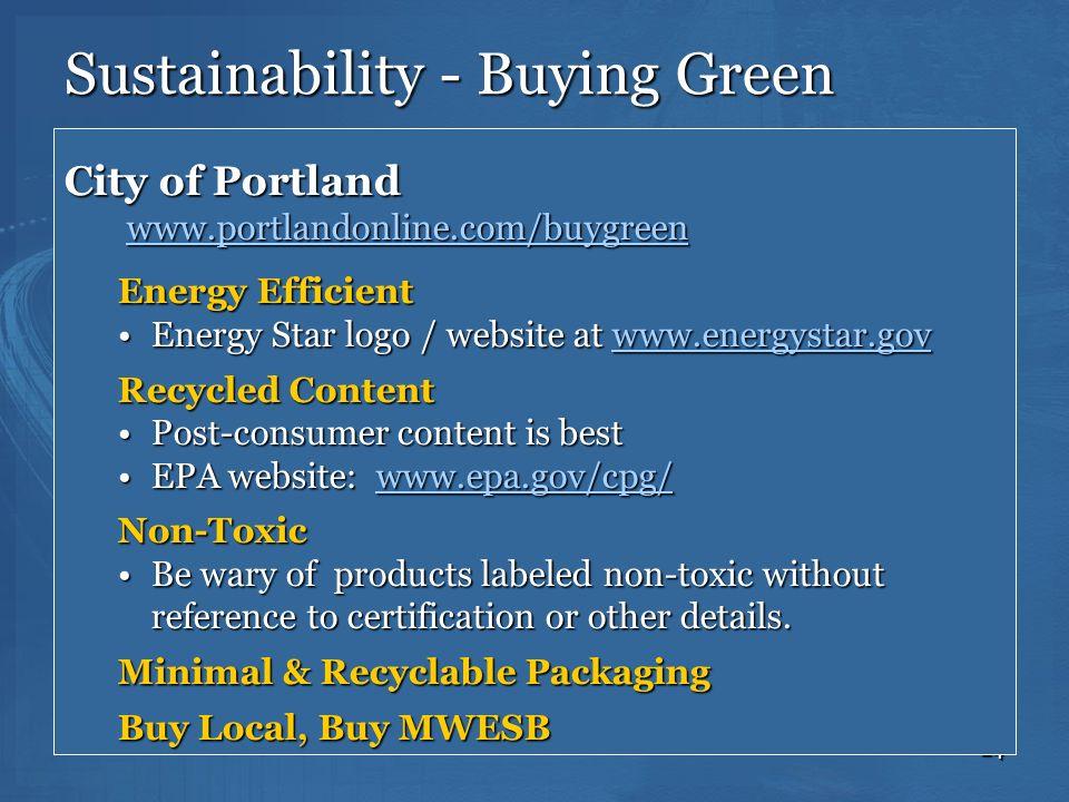 Sustainability - Buying Green