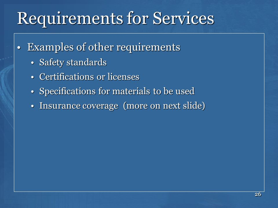 Requirements for Services