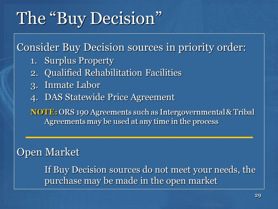 The Buy Decision Consider Buy Decision sources in priority order: