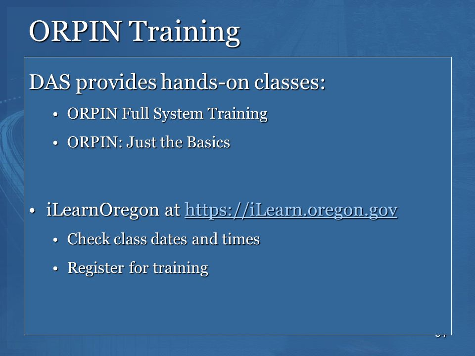 ORPIN Training DAS provides hands-on classes: